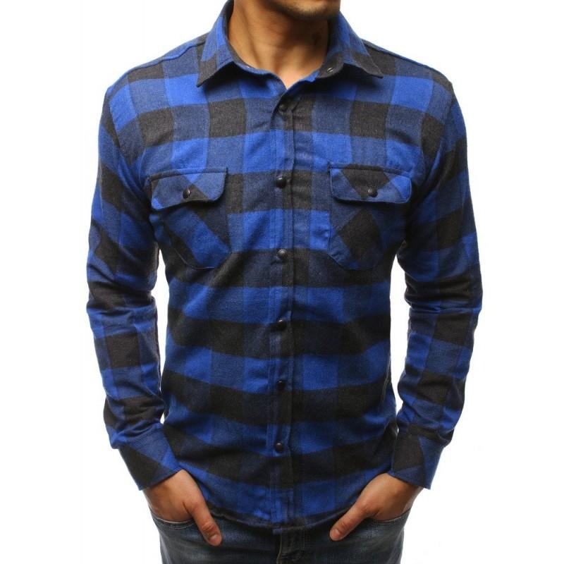 b6535c8368 Modrá károvaná košeľa s dlhým rukávom
