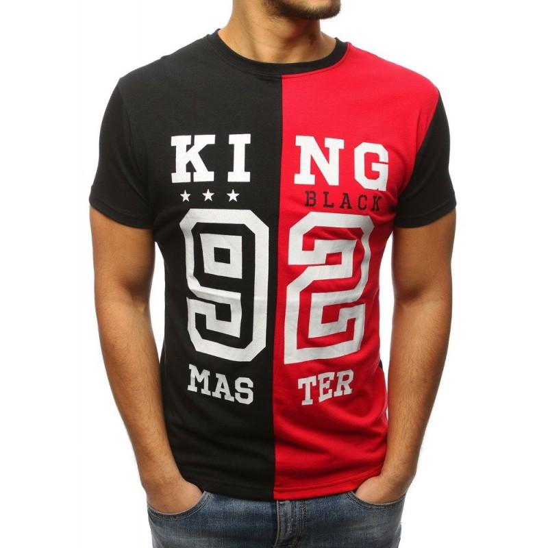 ea88b6a2b4b1 KING 92 Pánske čierno červené tričko s nápisom