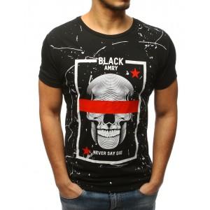 Čierne pánske tričko s potlačou lebky
