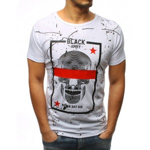 Biele pánske tričko s lebkou a červeným pruhom