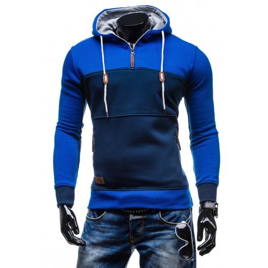 Kvalitné pánske mikiny s kapucňou modrej farby