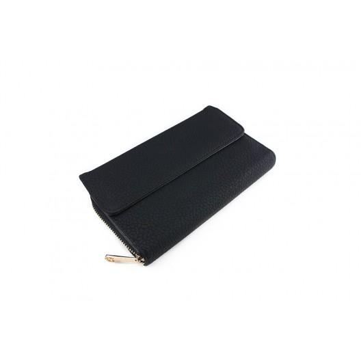 Čierna peňaženka dámska s pozláteným zipsom