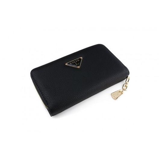 Veľká čierna hladká peňaženka pre ženy