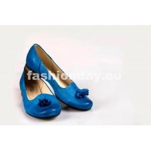 Dámske kožené balerínky dierkované modré DT039