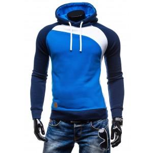 Kvalitné pánske mikiny s kapucňou modrej farby a so šnúrkami