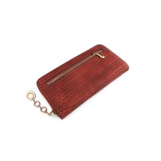 Štýlová dámska peňaženka hnedej farby na zips