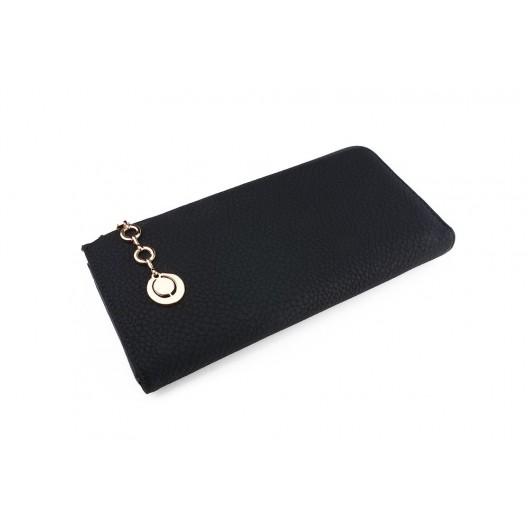 Veľká dámska čierna peňaženka s ozdobným príveskom