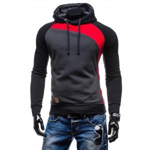 Elegantné pánske mikiny s kapucňou čierno-červenej farby