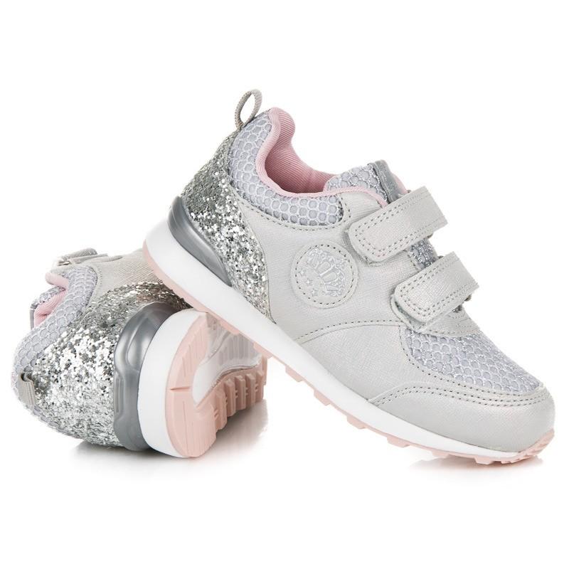 3542626d40 Sivé detské topánky na suchý zips s trblietkami