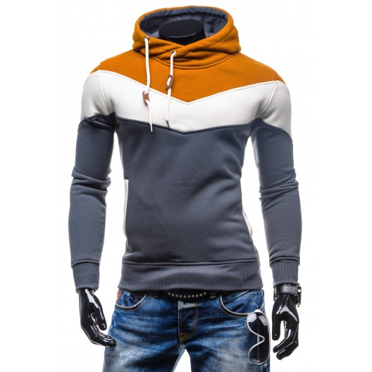 Trendy pánske mikiny s kapucňou sivo-hnedej farby