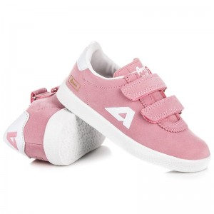 Semišová detská obuv na suchý zips ružovej farby