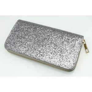 Flitrová dámska peňaženka striebornej farby