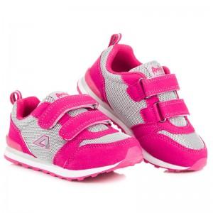 Ružové semišové botasky so suchým zipsom pre deti