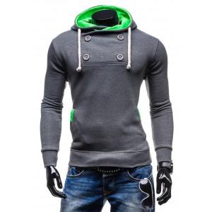 Mikiny s kapucňou pre chlapov šedej farby so zelenou kapucňou
