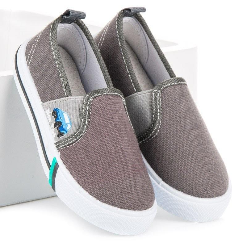ffcc7d09ca02 Detské jarné nazúvacie topánky sivej farby