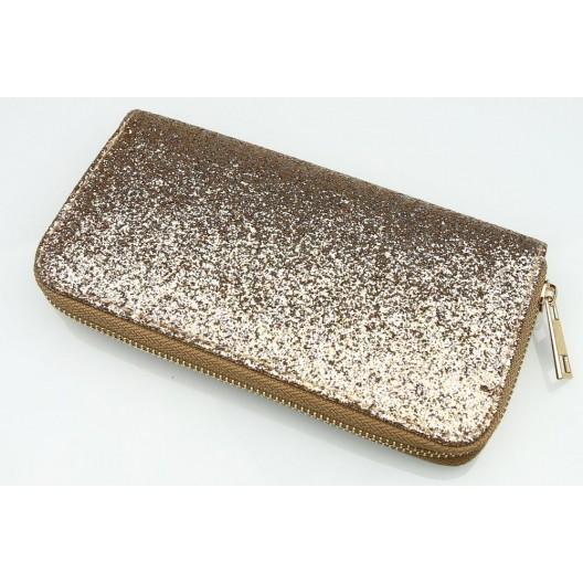 Dámska zlatá peňaženka s flitrami