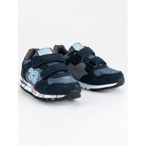 Tmavo modrá detská športová obuv na suchý zips
