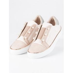 Béžové detské slip on topánky s ozdobnými korálkami