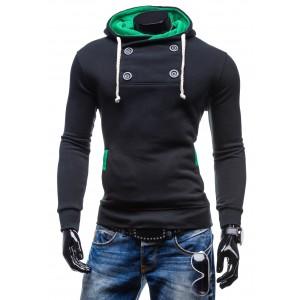 Značkové pánske mikiny voľnočasové čiernej farby s kapucňou