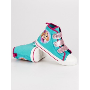 Tyrkysové detské členkové topánky s rozprávkovým motívom