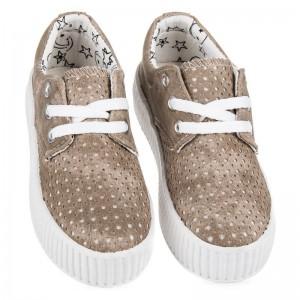 Hnedé detské topánky na bielej platforme