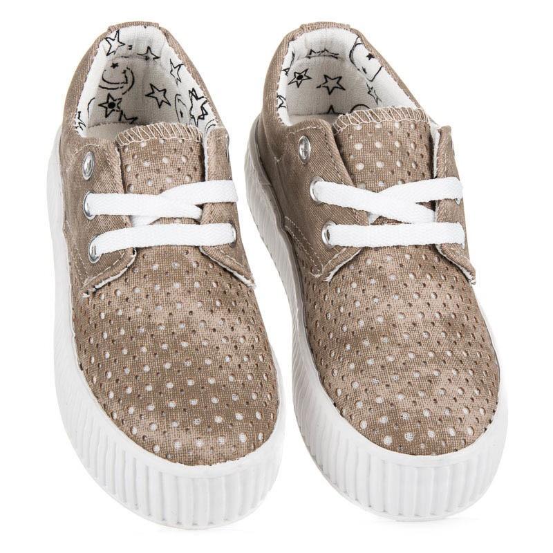 66d009b4d Hnedé detské topánky na bielej platforme