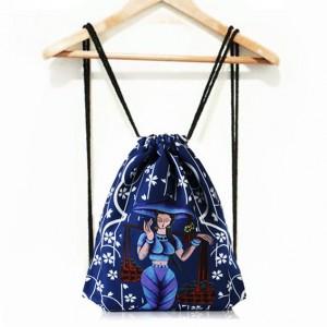 Dámsky športový ruksak na chrbát v modrej farbe s rozprávkovým motívom