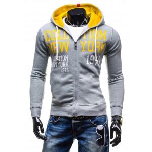 Trendy pánske mikiny s kapucňou šedej farby a s nápisom