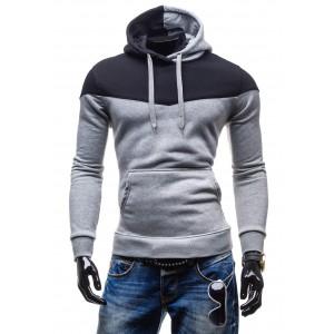 Moderné trendy mikiny šedej farby s kapucňou a šnúrkami