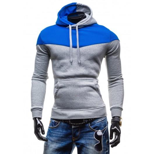 Kvalitné pánske mikiny s kapucňou šedo-modrej farby