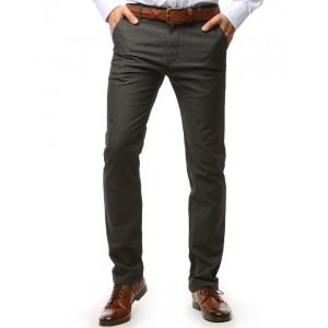 Pohodlné pánske chino nohavice tmavo sivej farby