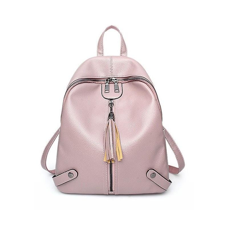 d79357c94df39 Dámsky ružový ruksak v elegantnom štýle so zipsom so strapcom