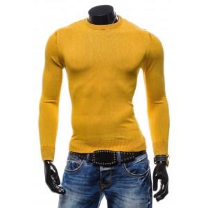 Štýlový pánsky sveter žltej farby bez goliera