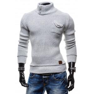 Kvalitné pánske svetre sivej farby s golierom a vreckom