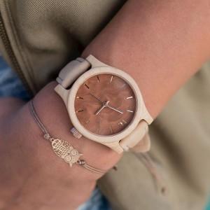 Štýlové béžovo hnedé dámske drevené hodinky