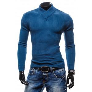 Pánsky pruhovaný sveter modrej farby