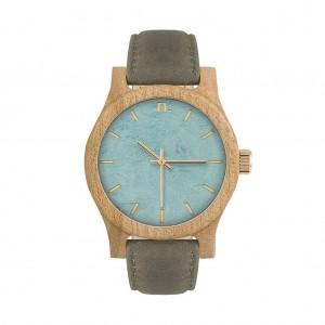 Dámske drevené hodinky v sivomodrej farbe