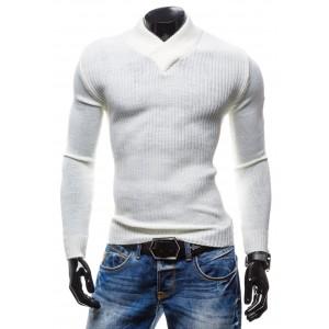 Pánske pruhované svetre bielej farby s véčkovým strihom