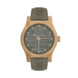 Dámske sivé drevené hodinky s koženým remienkom