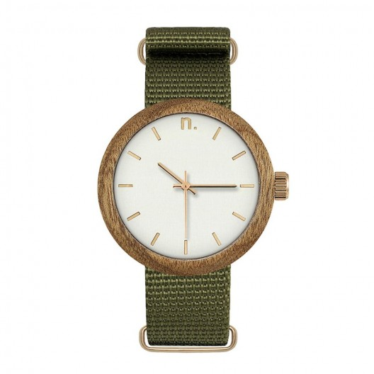 Dámske biele drevené hodinky s textilným remienkom