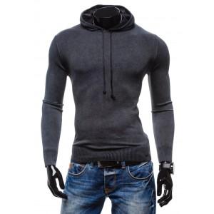 Elegantné pánske svetre čiernej farby s kapucňou a šnúrkami