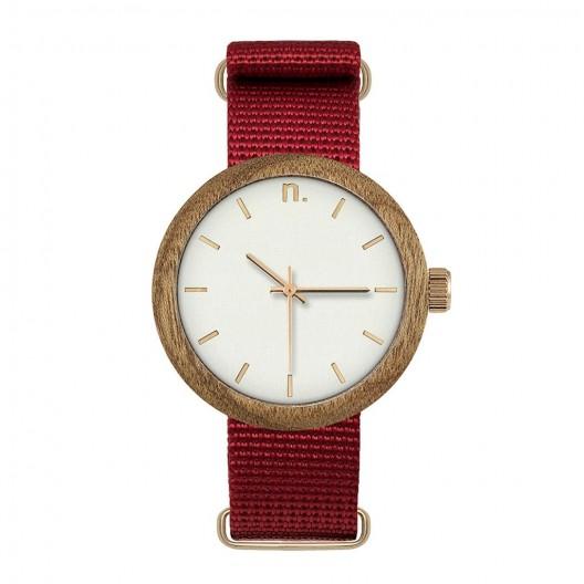 Drevené hodinky dámske v červeno bielej farbe s textilným remienkom