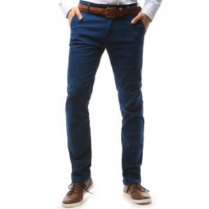 Moderné chino pánske nohavice tmavomodrej farby s prednými vreckami