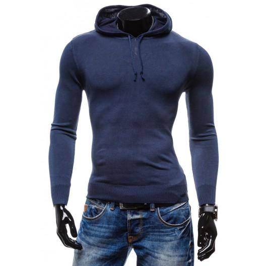 Moderné pánske svetre modrej farby s kapucňou a so šnúrkami