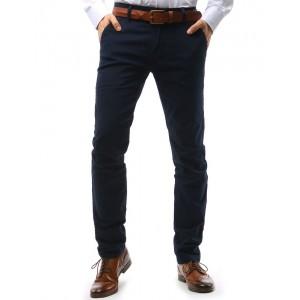 Moderné chino pánske nohavice výraznej tmavomodrej farby