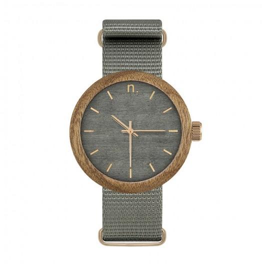 Dámske hodinky z dreva v sivej farbe s textilným remienkom