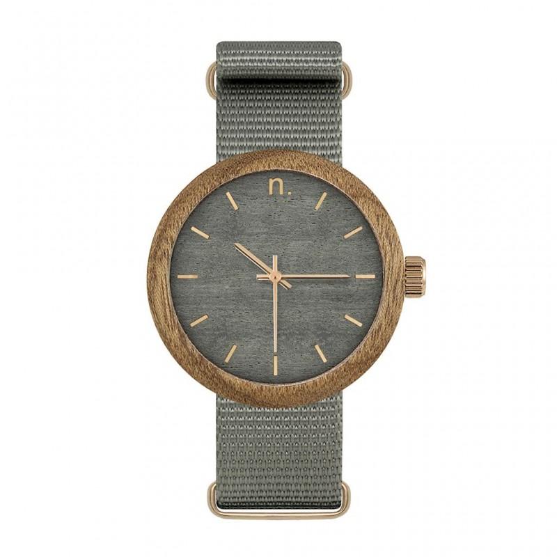 d97232c5c Dámske hodinky z dreva v sivej farbe s textilným remienkom