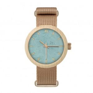 Drevené hodinky pre dámy v modro béžovej farbe s textilným remienkom