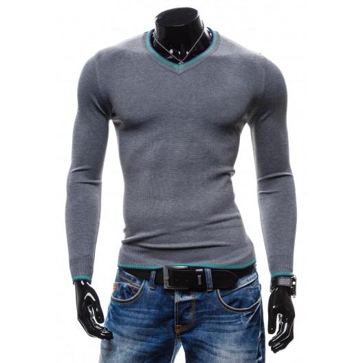 Moderné pánske pulóvre sivej farby s modrým lemovaním