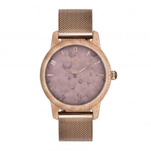 Dámske fialové drevené hodinky na ruku
